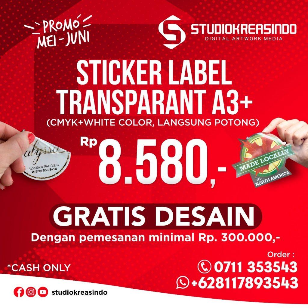 Sticker label Transparant murah di Palembang